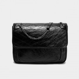 Cilela Large Black Chain Strap Shoulder Bag (CK-003083L)