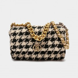 Cilela Beige Houndstooth Chain Strap Shoulder Bag (CK-003081)
