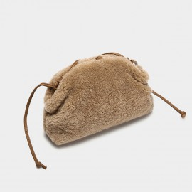 Cilela Fluffy Beige Wool Shoulder Bag (CK-003070)