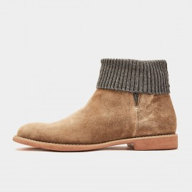 Herilios Basic Round Toe Suede Ankle Grey Boots (H8305G76)