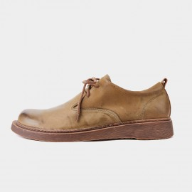 Herilios Folded Leather Camel Lace Ups (H9105D67)