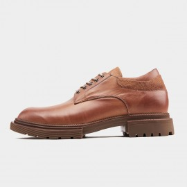 Herilios Textured Class Leather Apricot Lace Ups (H9105D78)