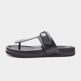 Herilios Leather T-Shaped Black Sandals (H9105L66)