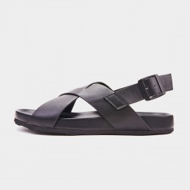 Herilios Crossed Leather Black Sandals (H9105L68)