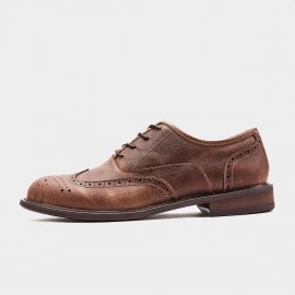 Herilios Rough Leather Oxford Coffee Lace Ups (H9305D89)