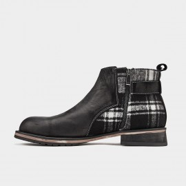 Herilios Modern Checked Black Boots (H9305G03)