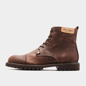 Herilios Labeled Lace-Up Brown Boots (H9305G15)