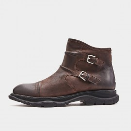 Herilios Double Buckle Coffee Boots (H9305G18)