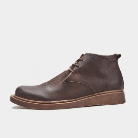Herilios Folded Leather Coffee Boots (H9305G25)