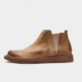 Herilios Geometrical Chelsea Camel Boots (H9305G30)