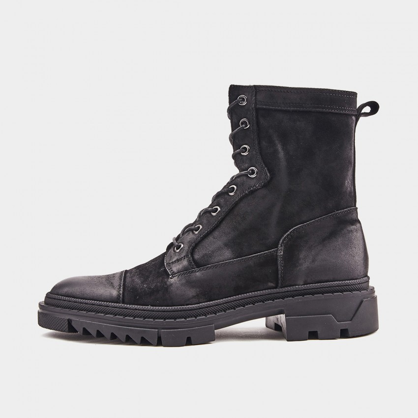 Herilios Toothed Lace-Up Black Boots (H9305G77)