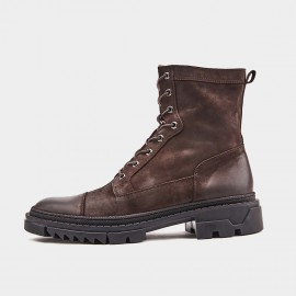 Herilios Toothed Lace-Up Brown Boots (H9305G77)
