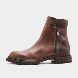 Herilios Extended Leather Coffee Boots (H9305G78)