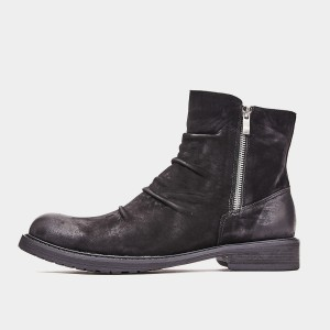 Herilios Aged-Effect Leather Black Boots (H9305G83)