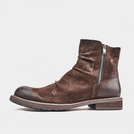 Herilios Aged-Effect Leather Brown Boots (H9305G83)