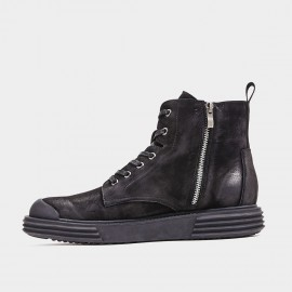 Herilios Zip-Up Lace-Up Black Boots (H9305G86)
