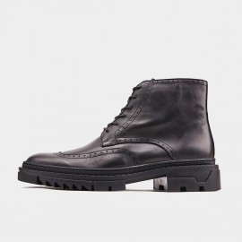 Herilios Zip-Up Toothed Oxford Black Boots (H9305G92)