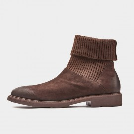Herilios Textured Sock Coffee Boots (H9305G94)