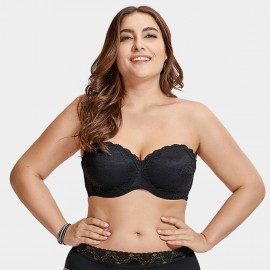 Delimira Scalloped Lace Strapless Black Bra (H311)