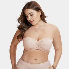 Delimira Scalloped Lace Strapless Nude Bra (H311)
