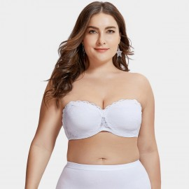 Delimira Scalloped Lace Strapless White Bra (H311)