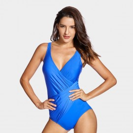 Delimira Ruched Fabric Blue One Piece (LT012)