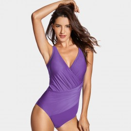 Delimira Ruched Fabric Purple One Piece (LT012)