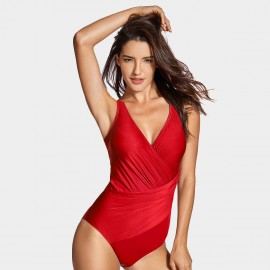 Delimira Ruched Fabric Red One Piece (LT012)