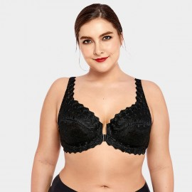 Delimira Patterned Lace Black Bra (W034)