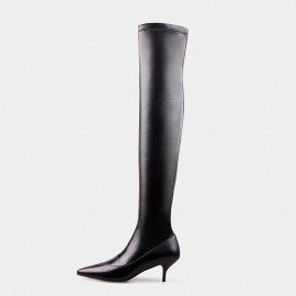 Jady Rose Only Softness Leather Black Boots (16DR10114-B)