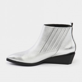 Jady Rose Parallel Seam Wedge Leather Silver Boots (16DR10109)