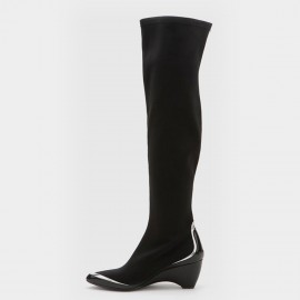 Jady Rose Contrastive Trim Knee Length Leather Black Boots (16DR10112)
