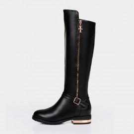 Jady Rose Dark Fairy Leather Black Boots (14QR3-0122)
