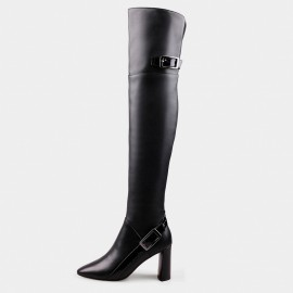Jady Rose Dual Buckle Leather Black Boots (16DR10117-B)