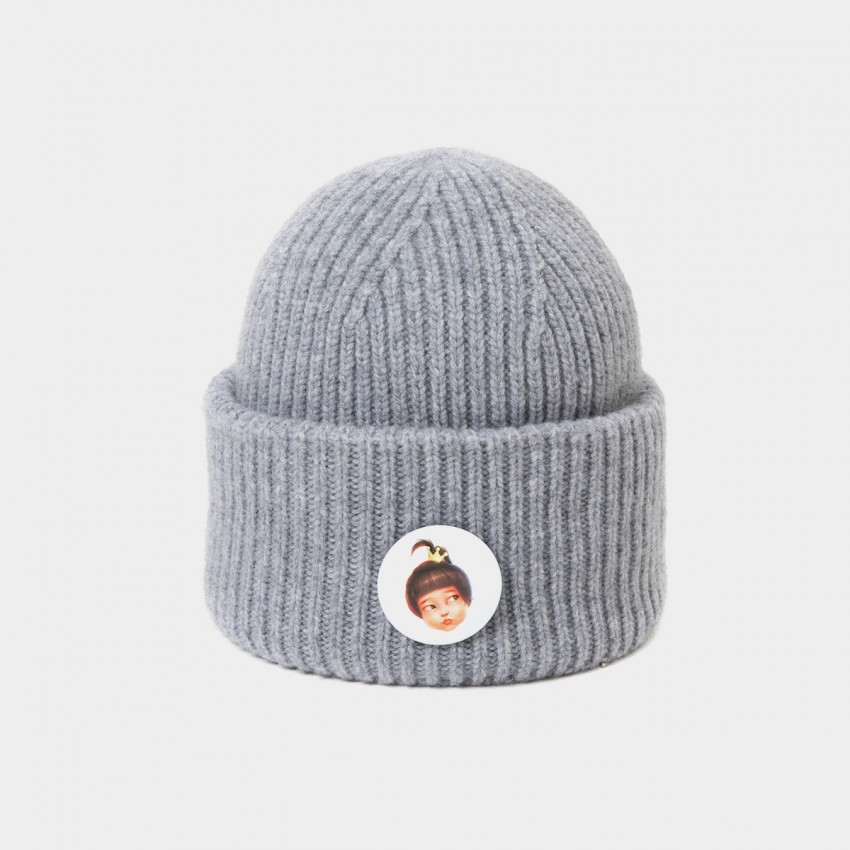 Coen & Chloe With Detachable Playful Badge of Grey Beanie (LDMZ001)