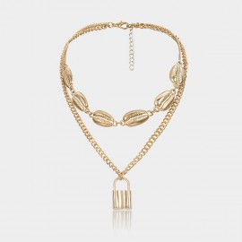 Coen C Shell Locker Gold Necklace (C02374K1)