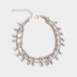 Coen C Double Layers Metal Beads Silver Anklet (H00208)