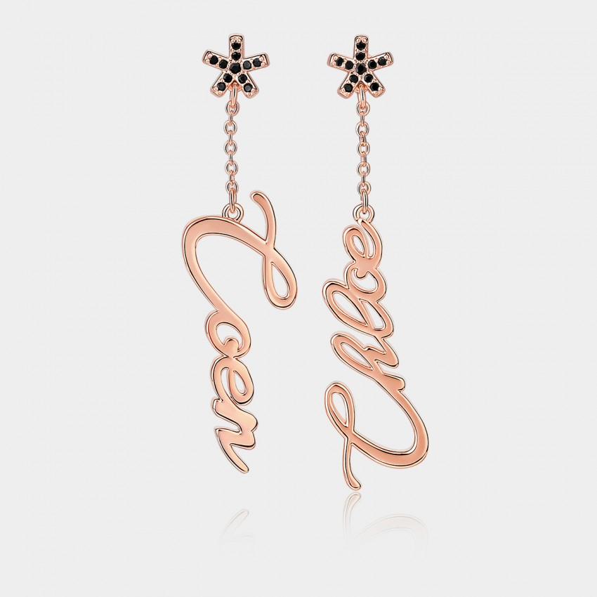 "Coen & Chloe ""Love"" Stylish Rose Gold Earrings (LDE10821)"