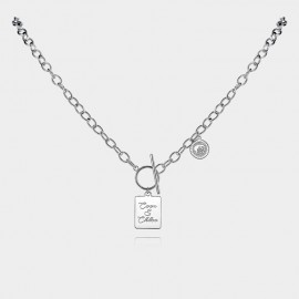 "Coen & Chloe ""Love"" Freedom Silver Long Chain (LDX4874)"