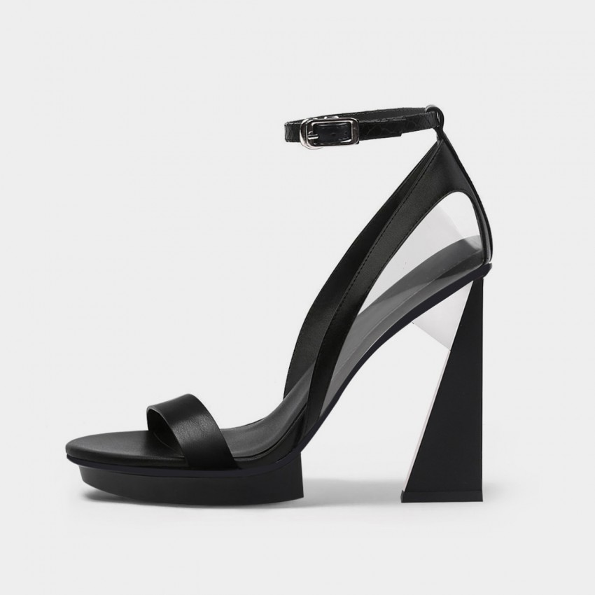 Jady Rose Stylish Triangular Heel Black Sandals (20DR10761)