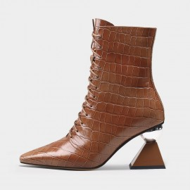 Jady Rose Reptile Lace-Up Pointy-Toe Brown Boots (20DR10788)