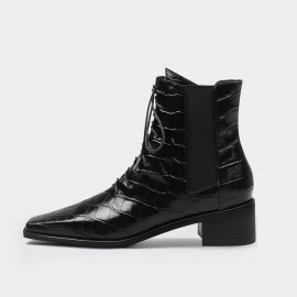 Jady Rose Reptile Lace-Up Elastic-Sided Black Boots (20DR10790)