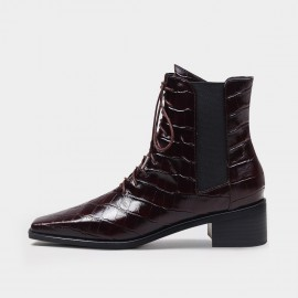 Jady Rose Reptile Lace-Up Elastic-Sided Wine Boots (20DR10790)