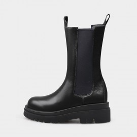 Jady Rose Easy-To-Wear Mid-Calf Black Boots (20DR10792)
