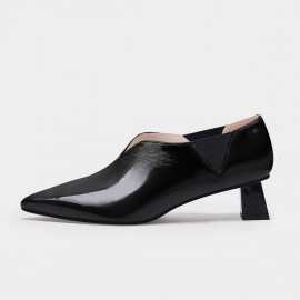 Jady Rose Sleek V-Shape Black Pumps (20DR10797)