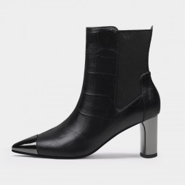 Jady Rose Sophisticated Reptile Mid Heel Black Boots (20DR10801)