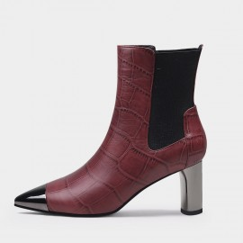 Jady Rose Sophisticated Reptile Mid Heel Wine Boots (20DR10801)