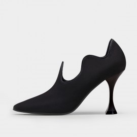 Jady Rose Wavy Suede Black Pumps (20DR10809)