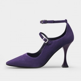 Jady Rose Trendy Double-Strap Purple Pumps (20DR10810)