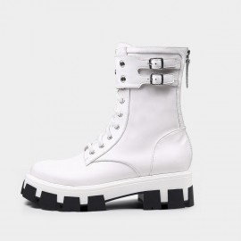 Jady Rose Soft Punk Metal Studs Mid-Calf White Boots (20DR10814)